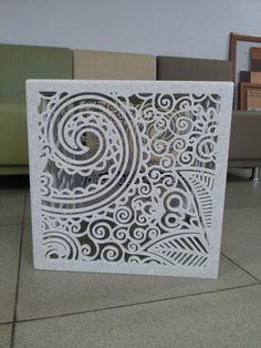 CNC cut deco panel in Corian Cameo White. Solid Surface Studio