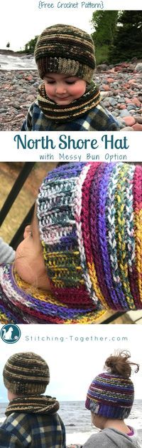Easy warm hat with a messy bun option. Free crochet pattern!