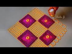 YouTube Easy Rangoli Designs Diwali, Rangoli Simple, Rangoli Designs Flower, Rangoli Border Designs, Small Rangoli Design, Rangoli Patterns, Colorful Rangoli Designs, Rangoli Ideas, Diwali Rangoli
