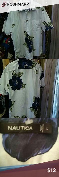 Nautica Shirt Nautica casual shirt. Size L Big Blue Hawaiian flowers with green leaves on a white back ground. 100% Cotton. Nautica Shirts Casual Button Down Shirts