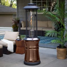 Keep guests comfortable with the Belham Living Carbon Collapsible Gun Metal Glass Tube Patio Heater at the ready. This patio heater is crafted from. Lawn And Garden, Indoor Garden, Replace Light Fixture, California Backyard, Patio Heater, Backyard Patio, Tube, Red, Bronze