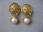 VINTAGE ANNE KLEIN CLASSIC GOLD LION DOOR KNOCKER CLIP EARRINGS PEARL DANGLE - Anne, Classic, Clip, Dangle, Door, Earrings., Gold, Klein, Knocker, Lion, Pearl, Vintage - http://designerjewelrygalleria.com/anne-klein-jewelry/anne-klein-earrings/vintage-anne-klein-classic-gold-lion-door-knocker-clip-earrings-pearl-dangle/