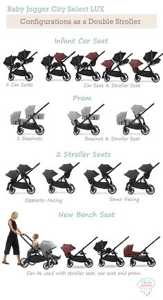 The Baby Jogger City Select LUX Double Stroller can be used in 16 different configurations. You can even convert the city select into a triple stroller with an additional glider. Baby Jogger Double Stroller, Double Stroller For Twins, City Select Double Stroller, Baby Jogger City Select, Best Double Stroller, Double Stroller Travel System, Toddler Stroller, Best Twin Strollers, Double Strollers