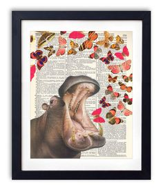 Hippo with Colored Butterflies Upcycled Dictionary by RetroBookArt