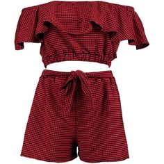 Boohoo Skye Gingham Off Shoulder Crop & Shorts Co-Ord (145 GTQ) ❤ liked on Polyvore featuring crop top, playsuits, rompers, sets, golf skirts, waist belts, red waist belt and red skort