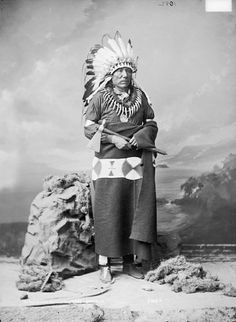 Portrait (Front) of Chief Ta-Ton-Ga-Non-Zhin or Ta-Tan-Ka-Nu-Zhe (Standing Buffalo Bull) - Ponca  in Partial Native Dress with Headdress and Bear Claw Necklace and Holding Pipe-tomahawk 14 NOV 1877 by William Henry Jackson (1843-1942)