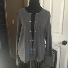 AnnTaylor cardigans Ann Taylor cardigan, black velvet on neck and sleeves.. Ann Taylor Sweaters Cardigans