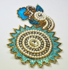 Sky Blue n Golden  Zari thread with Resins n Faux Pearls Floral styled Indian Embroidery Applique