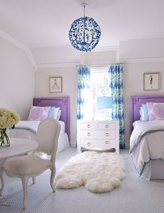 House of Turquoise: Tracy Hardenburg Designs - turquoise and purple girls room This would be a great dorm room design Teen Girl Rooms, Teenage Girl Bedrooms, Little Girl Rooms, Teen Bedroom, Kid Bedrooms, Kids Rooms, Bedroom Bed, Bed Room, Twin Room