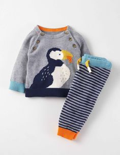 Fun Knitted Play Set from Mini Boden - Puffin! Baby Boy Knitting, Knitting For Kids, Sewing For Kids, Baby Boy Fashion, Kids Fashion, Baby Boy Outfits, Kids Outfits, Baby Boy Pictures, Baby Suit