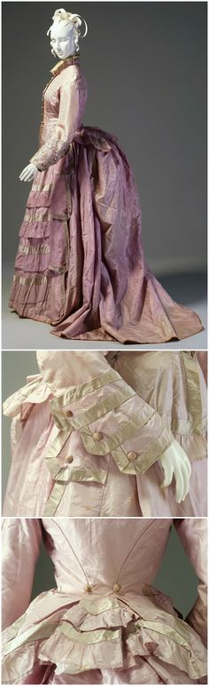 """Mauve silk taffeta afternoon dress consisting of bodice and bustle skirt, both trimmed with lengths of lavender coloured satin, Australia, c. 1876. Emily McMurrick (née Waterman) wore this dress at, or just after, her marriage to Duncan McMurrick in 1876. It is believed to be her """"going-away"""" dress. Going away dresses were traditionally worn by a newly married woman when leaving on her honeymoon. Collection of the Museum of Applied Arts & Sciences / Powerhouse Museum."""