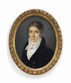 J. CROIZIER (FRENCH, FL. C. 1815-1825)  A young gentleman, in black coat with silver buttons, white waistcoat, frilled shirt and knotted cravat, wearing a stick-pin  signed and dated 'J. Croizier. 1817' (mid-left)  on ivory  oval, 3¼ in. (82 mm.) high, giltwood frame with foliate border