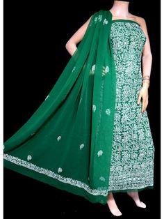 ISHIEQA's Green Georgette Chikankari Dress Material-KL0201D