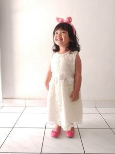 hand-made white dress. pink ballet shoes. ribbon-shaped hairband. baby girl's outfit. #ootd
