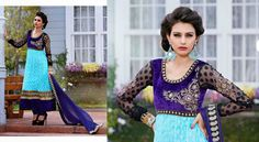 Light Blue Jacquard Net Salwar Kameez aetb10239 Price: 105 USD Beautiful Light Blue Jacquard Net Salwar Kameez embellished with zari, resham embroidery with stone work, velvet patches and patch patta work.  Salwar Kameez comes with Navy Blue santoon bottom and Navy Blue chiffon dupatta. This Unstitched Suit Fabric has maximum bust size of 42 inches.  For customized please submit your measurement at info@auraexclusive.com