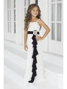 cf18d5ef49e Black White Spaghetti Straps Chiffon Junior Bridesmaid Dresses With  Handmade Flowers 1807005 Свадебные Платья
