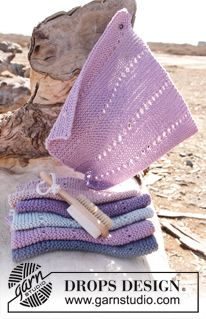 """Happy - Knitted DROPS cloth with lace pattern in """"Paris"""". - Free pattern by DROPS Design"""