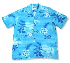 We love the retro feel of the Aurora Hawaiian Shirt. Shades of blue tropical island motifs on a complementary blue background. This rayon resort shirt is as soft and comfortable as it looks. Aloha island shirt also available in orange Hawaiian Boys, Mens Hawaiian Shirts, Hawaiian Print, Vintage Hawaiian, Aloha Shirt, Laid Back Style, Shorts With Pockets, Boys Shirts, Shirt Style