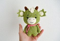 Cute Dragon amigurumi pattern by RNata Amigurumi Patterns, Amigurumi Doll, Crochet Patterns, Half Double Crochet, Single Crochet, Crochet Animals, Crochet Toys, Crochet Dragon Pattern, Kawaii Crochet
