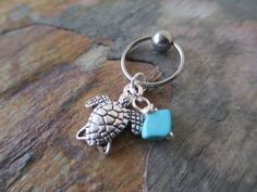 Silver Turtle Tortoise with Turquoise by BohemianBodyJewellry, $8.00