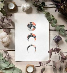 Lava Moon  Original watercolor Moon phases painting
