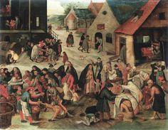 Pieter Brueghel il Giovane  Danza nuziale all'aperto, 1610 ca.  Olio su tavola, 74,2 x 94 cm  U.S.A., collezione privata    http://chiostrodelbramante.it/info/brueghel_meraviglie_dellarte_fiamminga/