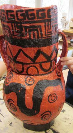 Papier Mache Greek Vases in Grade Seven | Art Lessons For Kids