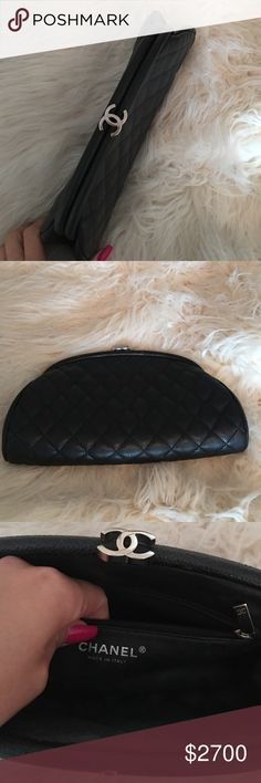 Authentic Chanel Clutch Authentic Chanel Black Caviar clutch. A total classic that goes with everything. Paid 2000 always sold out, so hence the higher price. Silver hardware. No scratches. CHANEL Bags Clutches & Wristlets