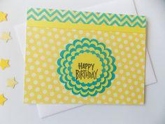 Items similar to Birthday Card - Happy Birthday Card - Flower Birthday Card - Yellow Birthday Card - Handmade Birthday Card - Bday Card - For Teen Girl on Etsy Happy Birthday Greeting Card, Handmade Birthday Cards, Happy Doodles, Flower Birthday Cards, Yellow Birthday, Polka Dot Background, Greeting Cards Handmade, Card Stock, Flowers