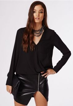 Lolah Crepe Wrap Over Blouse Black - Tops - Shirts & Blouses - Missguided
