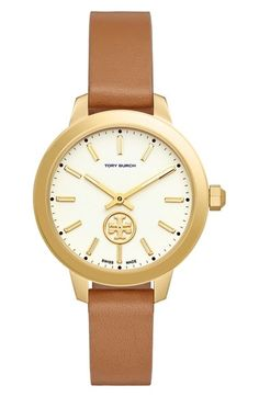 Tory Burch 'The Collins' Leather Strap Watch, 38mm available at #Nordstrom