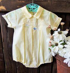 1980s - Vintage Baby Boy Yellow Romper