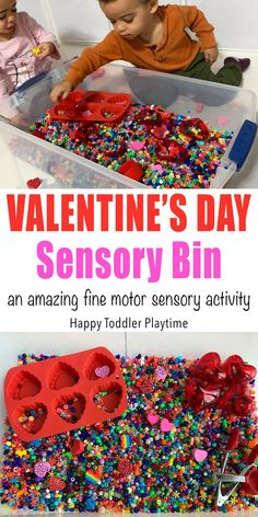 Valentines Day Sensory Bin - HAPPY TODDLER PLAYTIME This Valentine's Day sensory bin is an amazing sensory activity for toddlers and preschoolers. It makes a wonderful way to spend an afternoon or entertain your little one after school. Quiet Time Activities, Sensory Activities Toddlers, Games For Toddlers, Sensory Play, Infant Activities, Toddler Preschool, Preschool Activities, Motor Activities, Body Preschool