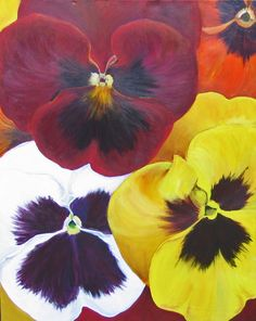 Flower painting, Large original Acrylic flower painting  with black backgroundpansies in colors of yellow, white and red #bestofEtsy #Walldecor