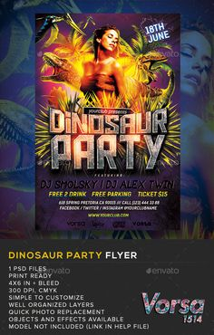 Dinosaur Party PSD Flyer  Template • Only available here ➝ http://graphicriver.net/item/dinosaur-party-flyer-/11393927?ref=pxcr