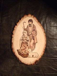 Nativity Wood Burnt Art