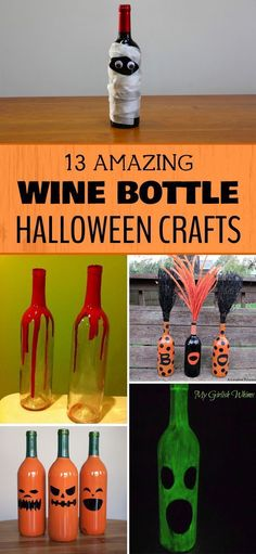 13 Amazing Wine Bottle Halloween Crafts - A great way to reuse the bottles from your favorite Missouri wines! #decoratedwinebottles #winebottlecrafts