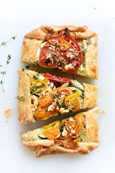 Heirloom Tomato, Zucchini, Caramelized Onion and Feta Galette | foodiecrush.com