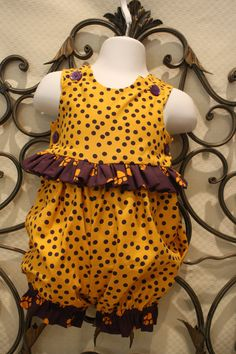 LSU Insired Baby and Toddler Girls Romper Clothes. $24.95, via Etsy.