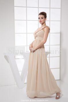 Camel Brush/ Sweep Train Chiffon One Shoulder Prom Dress