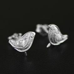 Silver Earrings – bird earrings 925 Sterling silver stud earrings – a unique product by TO_Design on DaWanda