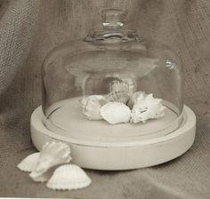 ... cloche, Shabby Chic Cloche, Beach Cottage Cloche, white cloche, Cloche by catrulz