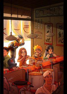 A birthday gift for a friend who is crazy for Naruto Initial sketch then all done digitally. Team 7 at Ramen Ichiraku Naruto Kakashi, Anime Naruto, Naruto Team 7, Naruto Cute, Naruto Shippuden Anime, Aot Anime, Fan Art Naruto, Photo Naruto, Naruto Drawings