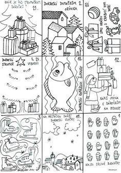 Náš advent začíná Mikulášem. To je chvíle, kdy mě zachvátí panika, že nemám dárky, napečeno, nazdobeno, uklizeno. Co je v listopadu, ... Christmas Activities For Kids, Preschool Christmas, Christmas Games, Christmas Calendar, Rug Hooking, Winter Time, Diy And Crafts, Projects To Try, Quizes