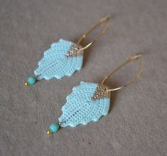 Vintage Inspired Irish Crochet Leaf Dangle Earring on Etsy, $30.00