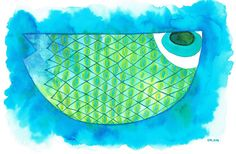 Boat fish watercolour-bluefish watercolour sea by JellyfishValley