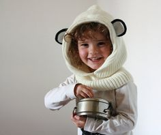Little bear cowl hat  Panda cowl hat  Knitted by TreMelarance