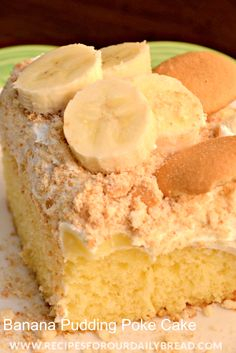 Banana Pudding Poke Cake Recipe-made from cake mix so is really easy http://recipesforourdailybread.com/2013/03/26/banana-pudding-poke-cake/ #cakemix #banana #cake