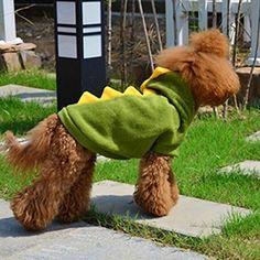 DDU(TM) 1Pcs Green- Warm Pet Dog Puppy Cat Dinosaur Clothes Apparel Outfit Hoodie Coat