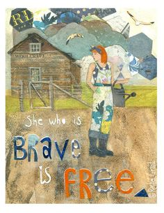 """""""She who is brave is free"""" Homestead garden girl with Auburn hair and watering can.Illustration Print by Rachel Grant. Available on Etsy. Environmental Posters, Rachel Grant, Farm Art, Mixed Media Artwork, Pigment Ink, Watercolor Paper, Freedom, Illustration, Artist"""